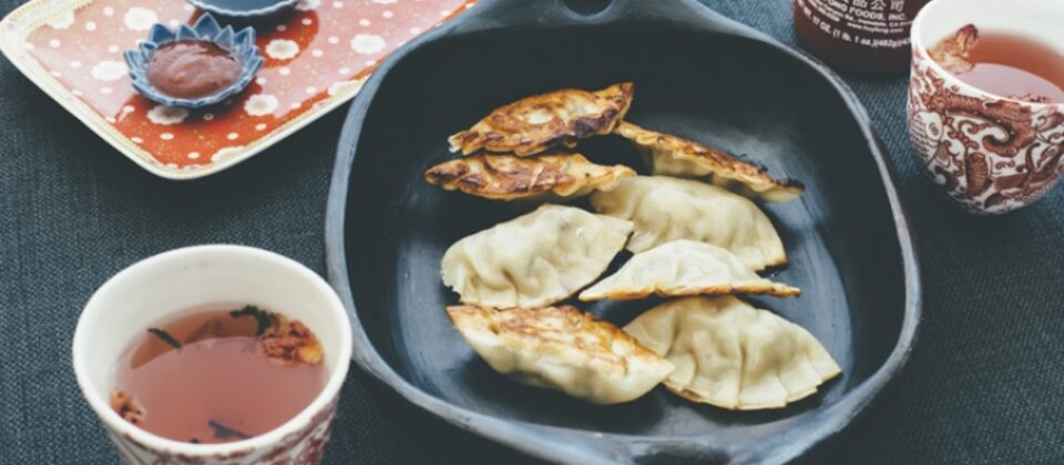 Macadamia, pork and mushroom pot sticker dumplings