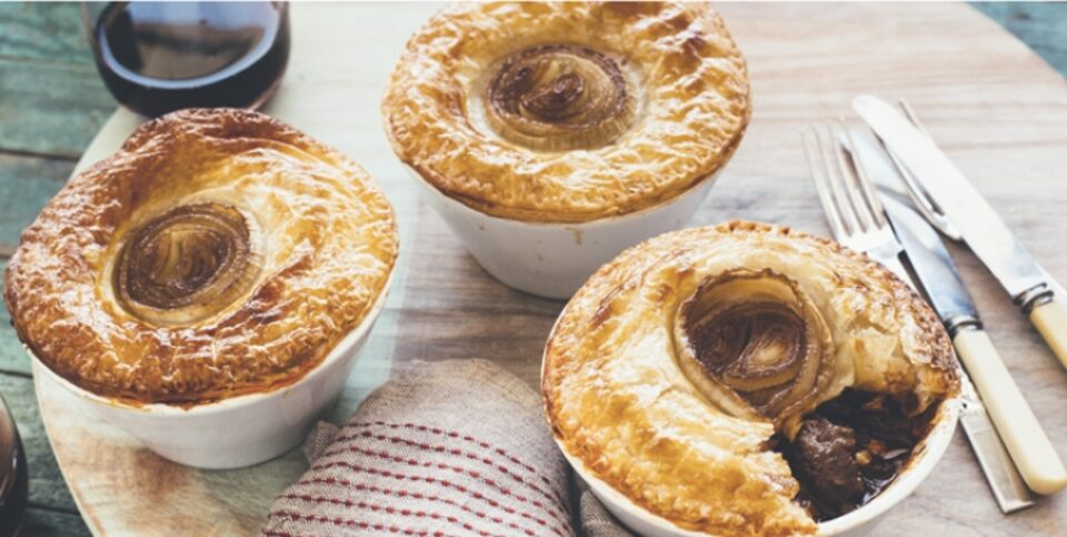 Beef, macadamia, mushroom and caramelised onion pies