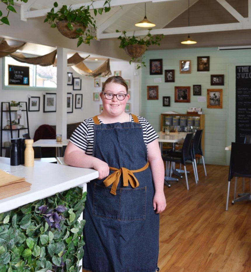 Elizabeth at work in the cafe