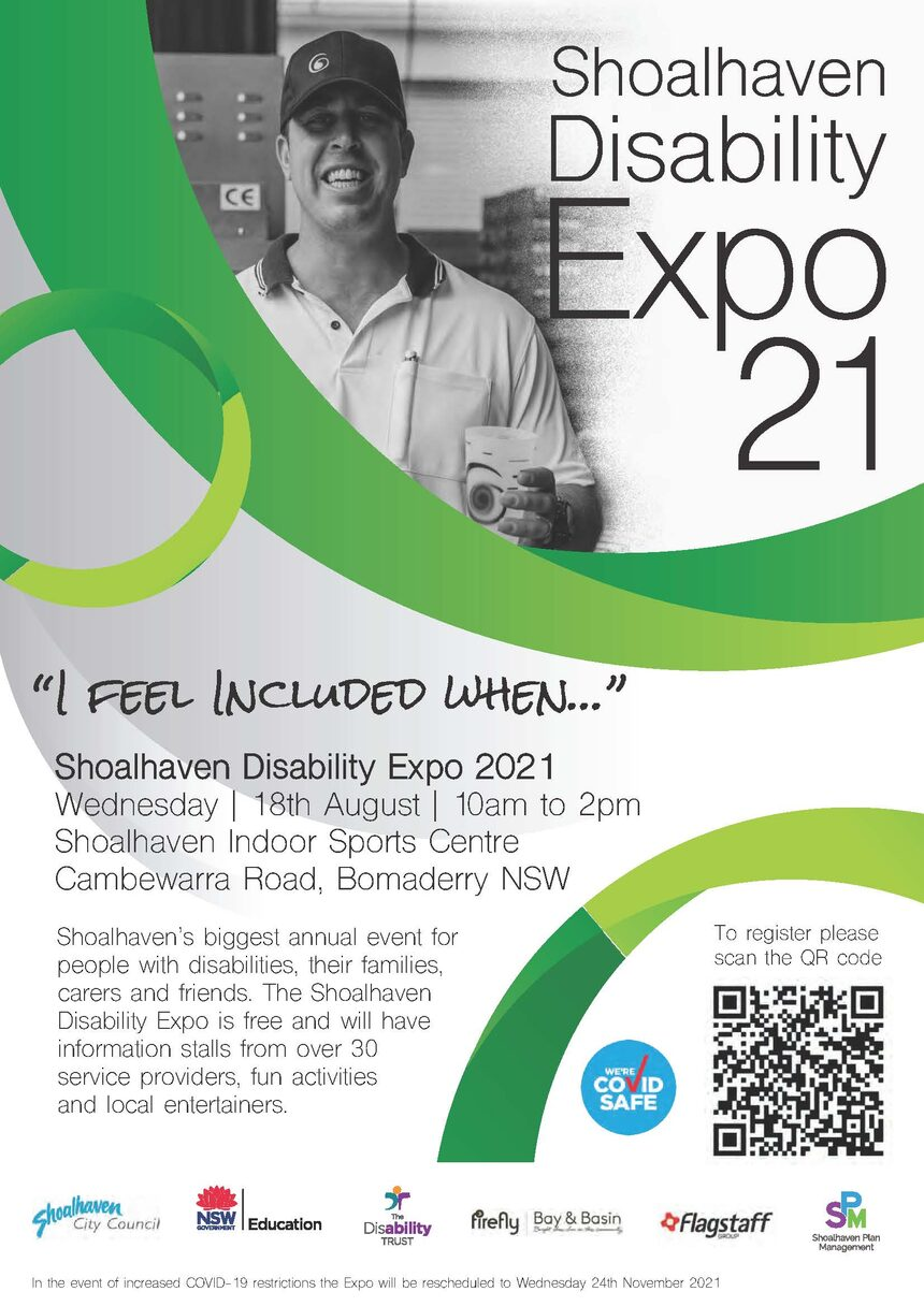 Flyer of expo white with green circles and man in black and white