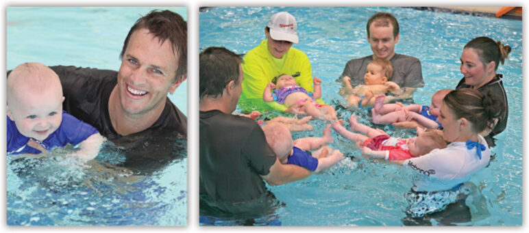 Left: smiling father and baby in pool, right: circle of parents holding babies in pool, babies learning to kick water