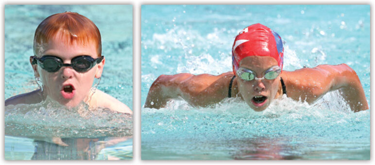 Image of a child and an athletic competitive swimmer swimming towards the camera