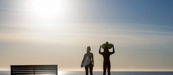 Surfing at Elouera Beach