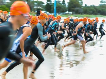 Swimmers on the start line on the beach