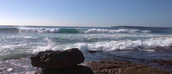 Ocean and rock along the Promenade Cronulla